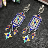 Earrings Trendy Spanish Tile Snake Statement Earrings LoxLux Jewelry