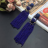 Earrings Trendy Ultra Long Boho Resin Bead Tassel Earrings LoxLux Jewelry