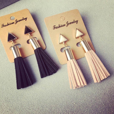 Triangle Shape Faux Suede Fabric Dangle Drop Earrings - Earrings - LoxLux Jewelry