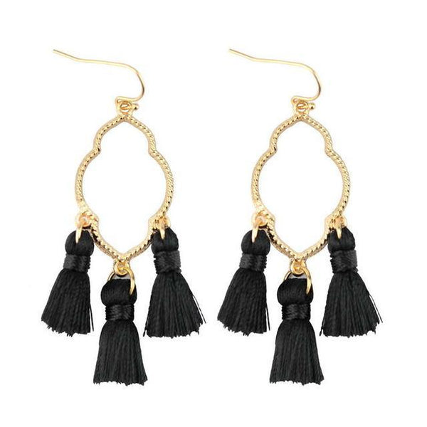 Earrings Triple Mini Tassel Chandelier Drop Earrings LoxLux Jewelry