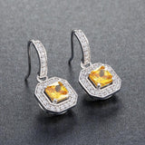 Earrings Yellow Zircon Cubic Zirconia 6mm Princess Cut Drop Earrings LoxLux Jewelry