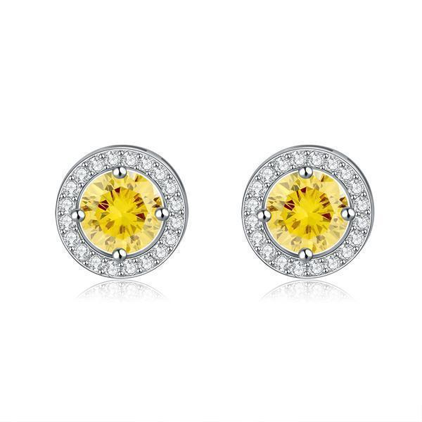 Earrings Yellow Zircon Cubic Zirconia .75ct Round Stud Earrings LoxLux Jewelry