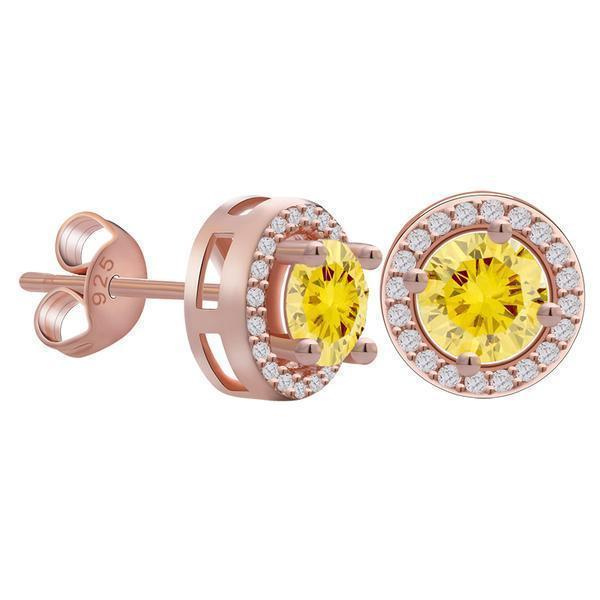 Yellow Zircon Cubic Zirconia Round Halo Stud Earrings - Earrings - LoxLux Jewelry