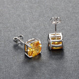Earrings Yellow Zircon Cubic Zirconia Square Stud Earrings LoxLux Jewelry