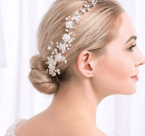 Simulated Pearls Flower Pattern Crystal Charm Headdress