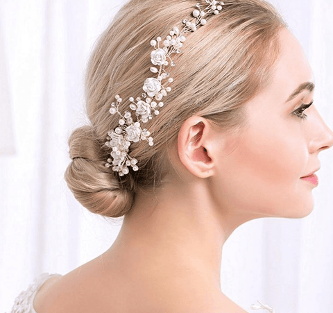 Simulated Pearls Flower Pattern Crystal Charm Headdress - Accessories - LoxLux Jewelry