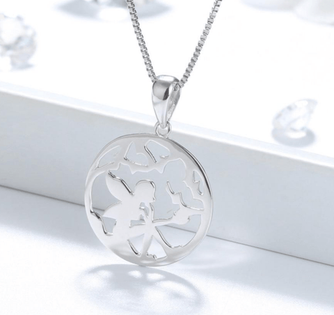 925 Sterling Silver Hollowed Fairy Pendant Necklace - necklace - LoxLux Jewelry