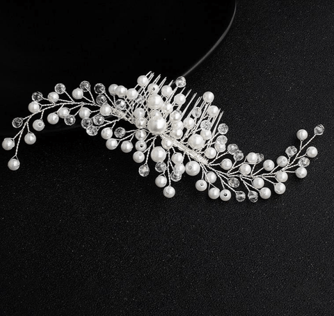 Simulated Pearls Bridal Beaded Hair Comb - Accessories - LoxLux Jewelry