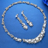 Crystal & Simulated Pearl Necklace & Earrings Set - JEWELRY SET - LoxLux Jewelry