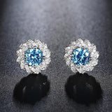 CZ 1.2ct Aquamarine Color Gemstone Silver Ring & Earrings Jewelry Set - JEWELRY SET - LoxLux Jewelry