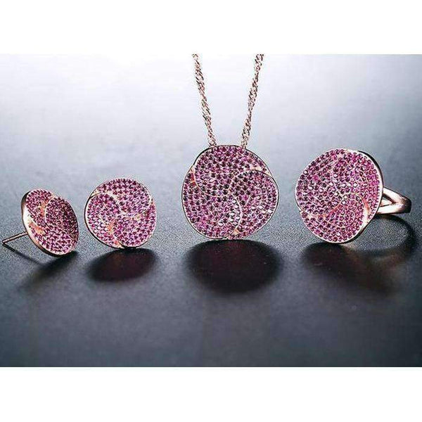 Cubic Zirconia Rose Gold Color Earrings, Ring & Necklace Jewelry Set - JEWELRY SET - LoxLux Jewelry