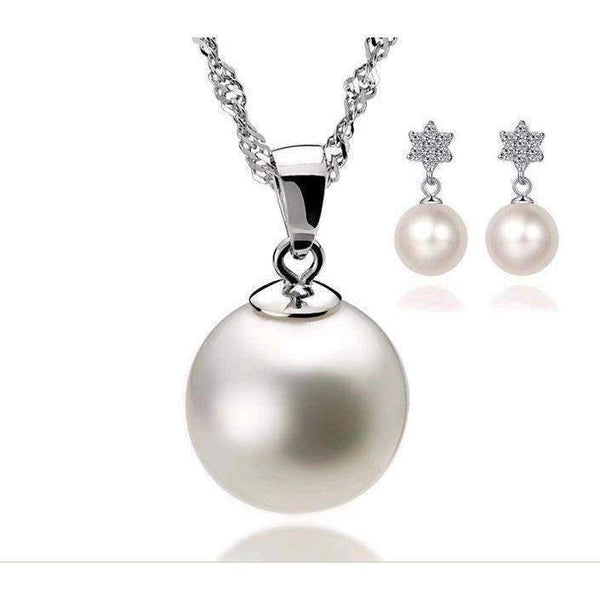Cubic Zirconia Simulated Pearl Necklace & Earrings Jewelry Set - JEWELRY SET - LoxLux Jewelry