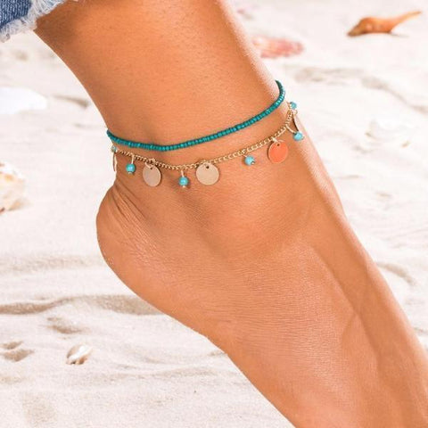 JEWELRY SET Natural Stone Beads Chain Anklet LoxLux Jewelry