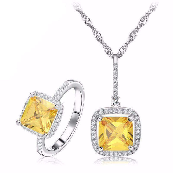 JEWELRY SET Yellow Zircon and Cubic Zirconia Micro Pave Necklace & Ring Jewelry Set LoxLux Jewelry
