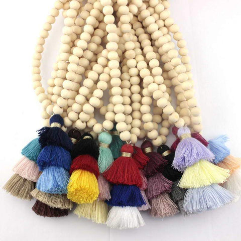 10 MM Natural Wood Beaded Long Tassel Necklace - necklace - LoxLux Jewelry