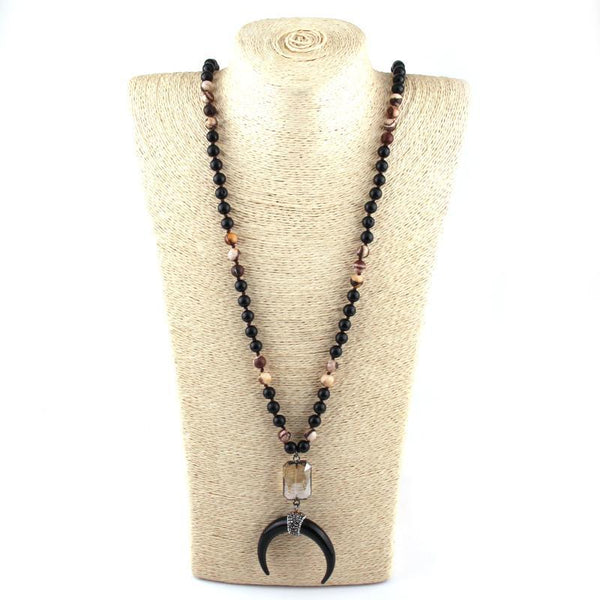 108 Beads Black Stone Knotted Crystal Link Black Crescent Moon Pendant Necklace - necklace - LoxLux Jewelry