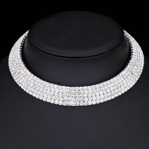5 Row Rhinestone Silver Color Choker Necklace - necklace - LoxLux Jewelry