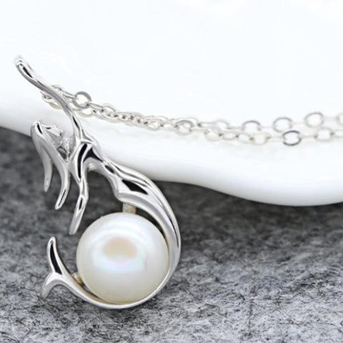 925 Sterling Silver Pearl Mermaid Necklace - necklace - LoxLux Jewelry