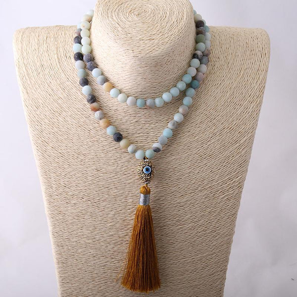 Amazonite Tribal Oval Evil Eye Crystal Ball Tassel Necklace - necklace - LoxLux Jewelry