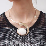 Big Oval Resin Pendant Torque Choker Necklace - necklace - LoxLux Jewelry