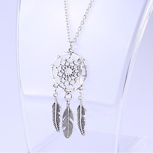 Boho Silver Feather Long Chain Necklace - necklace - LoxLux Jewelry