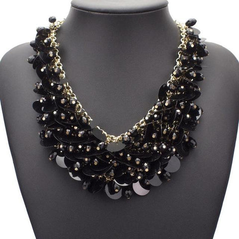 Cluster Crystal Beads Sequins Statement Chokers Necklace - necklace - LoxLux Jewelry
