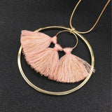 Copper Chain Circular Alloy Tassel Long Necklace - necklace - LoxLux Jewelry