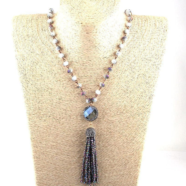 Crystal Chain Link Tassel Necklace - necklace - LoxLux Jewelry