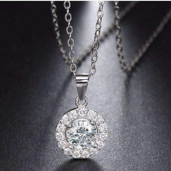Cubic Zirconia Sterling Silver Drop Pendant Necklace - necklace - LoxLux Jewelry