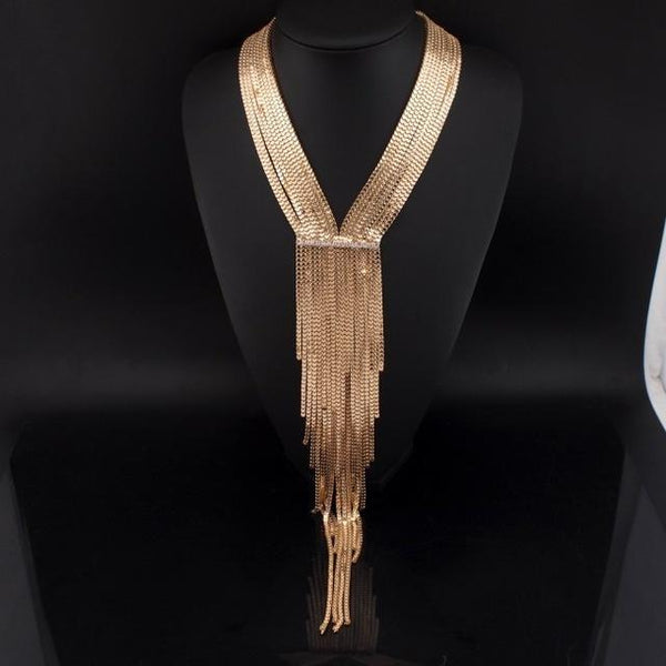 Fashion Chain Long Tassel Rhinestone Statement Necklace - necklace - LoxLux Jewelry