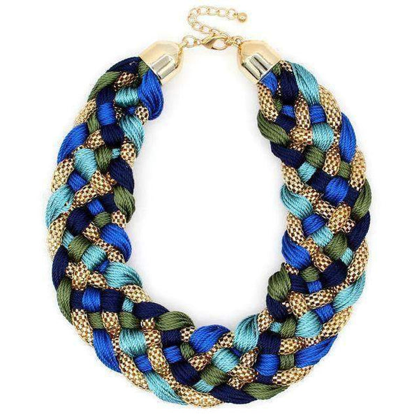 Fashion Weaved Chunky Chain Braid Statement Necklace - necklace - LoxLux Jewelry