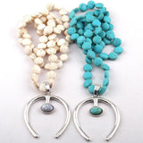 Flat Blue/White Stone Knotted Horseshoe Lucky Necklace - necklace - LoxLux Jewelry