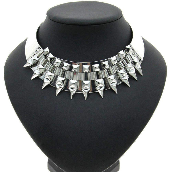 Geometric Spike Chain Choker Necklace - necklace - LoxLux Jewelry
