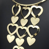 Gold Color Alloy Cluster Hearts Long Choker Statement Necklace - necklace - LoxLux Jewelry