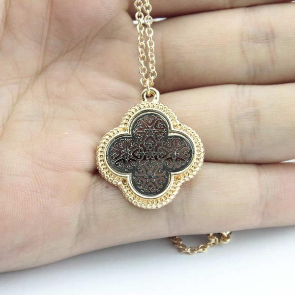 Gold & Silver Tone Plated Cutout Clover Pendant Necklace - necklace - LoxLux Jewelry
