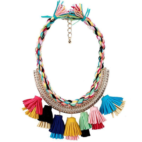 Handmade Tassel Twist Weaving Choker Necklace - necklace - LoxLux Jewelry