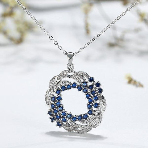Hollow Design Pave AAA Blue Cubic Zircon Pendant Necklace - necklace - LoxLux Jewelry