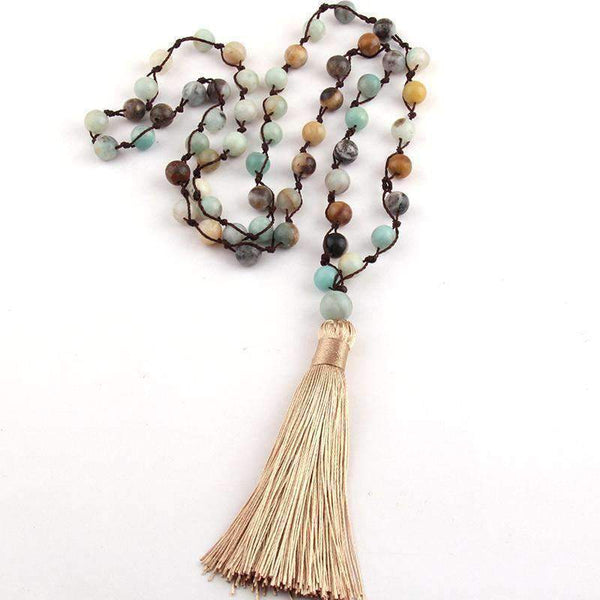 Long Boho Beaded Stone Halsband Tassel Necklace - necklace - LoxLux Jewelry
