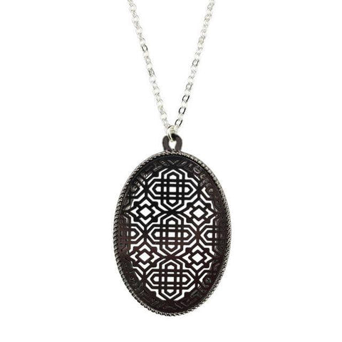 Long Chain Large Moroccan Oval Pendant Necklace - necklace - LoxLux Jewelry