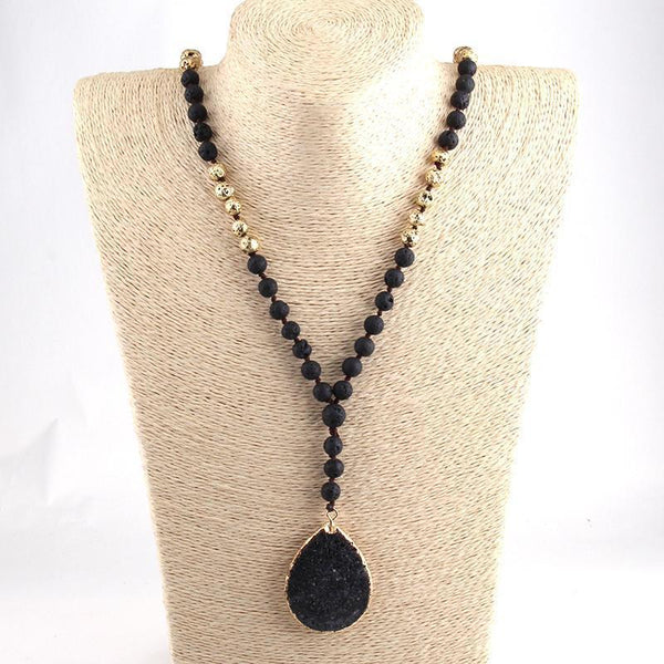 Long Knotted Black Lava Stones Necklace - necklace - LoxLux Jewelry