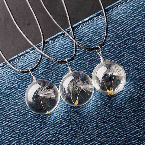 Long Leather Strip Crystal Glass Ball Dandelion Necklace - necklace - LoxLux Jewelry