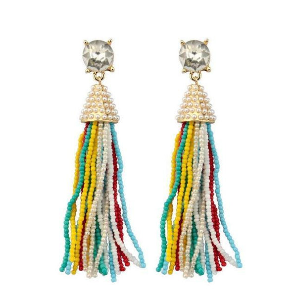 Long Multicolour Beaded Tassel Pendant Necklace & Earrings - necklace - LoxLux Jewelry