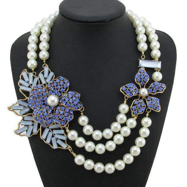 Multilayer Pearl Rhinestone Flower Statement Necklace - necklace - LoxLux Jewelry
