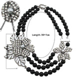 necklace Multilayer Pearl Rhinestone Flower Statement Necklace LoxLux Jewelry