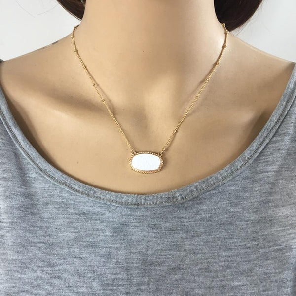 Oval Druzy Choker Pendant Necklace - necklace - LoxLux Jewelry