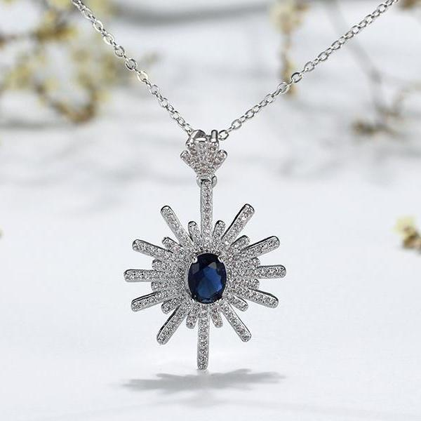 necklace Prong Setting AAA Blue Cubic Zircon Charm Pendant Necklace LoxLux Jewelry