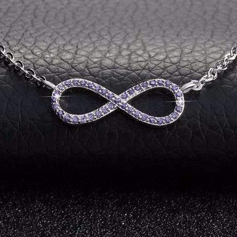 Purple/Yellow/Clear Zircon Cubic Zirconia Infinity Pendant Necklace - necklace - LoxLux Jewelry