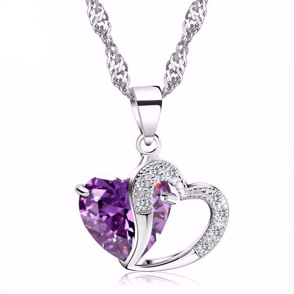 necklace Purple Zircon Cubic Zirconia Luxury Double Love Heart Crystal Pendant Necklace LoxLux Jewelry