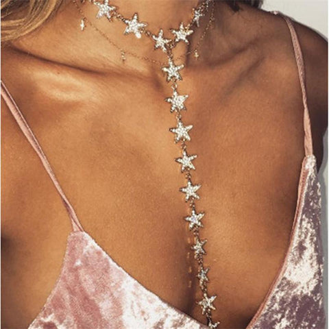 necklace Rhinestone Star Pattern Long Body Chain Necklace LoxLux Jewelry