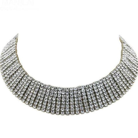 Rhinestone Wide Collar Choker Necklace - necklace - LoxLux Jewelry
